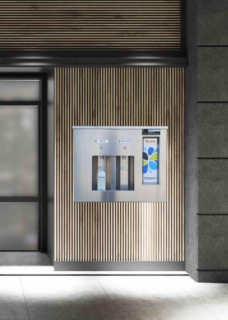 Une fontaine à eau encastrable par Fontaineo, idéale notamment dans vos cantines d'entreprise et administration.