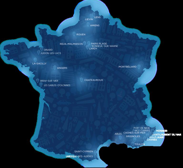 Carte de France des Fontaines à eau et Ilots de Fraîcheurs implantés par Fontaineo, actualisée en Juillet 2020