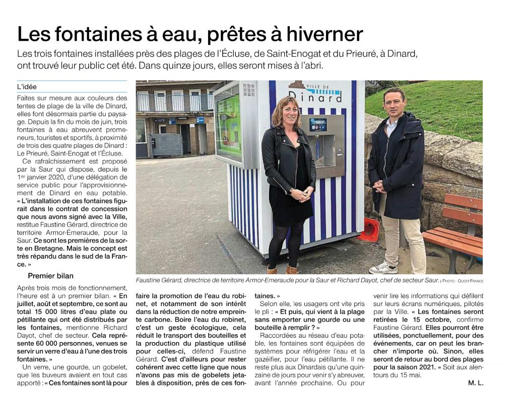 Les fontaines à eau à Dinard de Fontaineo mises à l'abri pour l'hiver